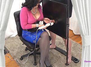 Red Latex Skirt Milking