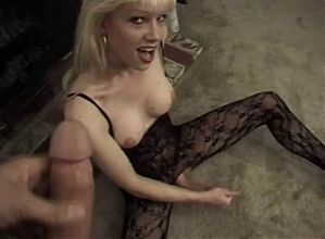 Busty Blonde In Fishnet Pounds A Guy