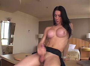 Tranny Plays With Her Big Cock