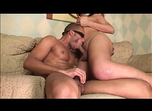 Blindfolded guy sucks cock and gets his ass fucked by tranny