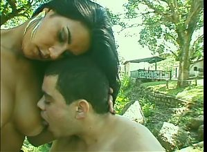 Bisexual stud fucking hot bitch outdoors joined by tranny who gets ass fucked